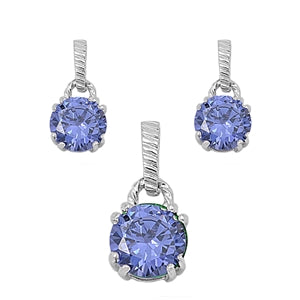 Round Cut Tanzanite Necklace & Earrings