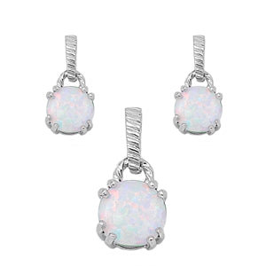 Round Cut White Opal Necklace & Earrings