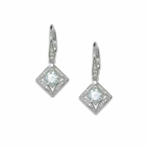 Sterling Silver Square Solitaire Earrings