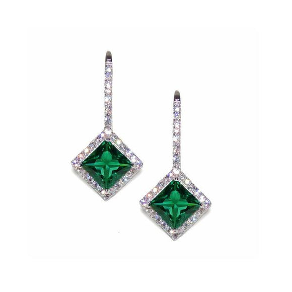 Sterling Silver Princess Cut Emerald Earrings