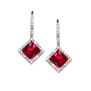 Sterling Silver Princess Cut Ruby Earrings