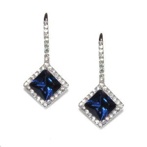 Sterling Silver Princess Cut Sapphire Earrings