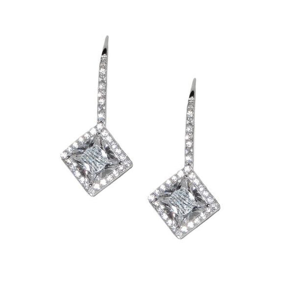 Sterling Silver Princess Cut Earrings