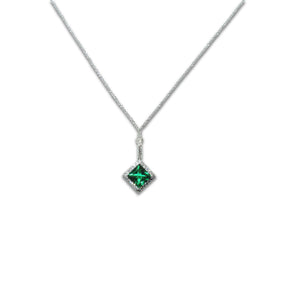 Sterling Silver Princess Cut Emerald Necklace