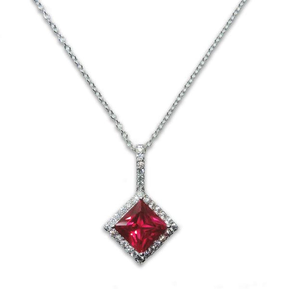 Sterling Silver Princess Cut Ruby Pendant Necklace