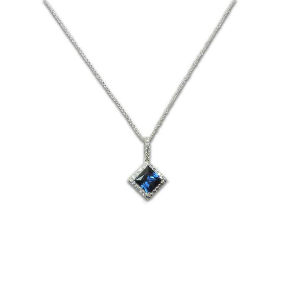 Sterling Silver Princess Cut Sapphire Necklace