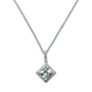 Sterling Silver Princess Cut Pendant Necklace