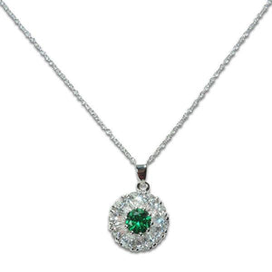 Sterling Silver Emerald Flower Necklace