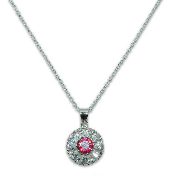 Sterling Silver Ruby Flower Necklace