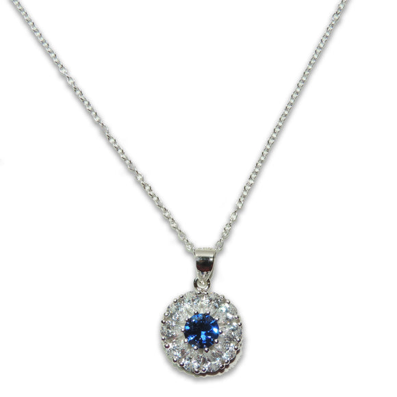 Sterling Silver Sapphire Flower Necklace