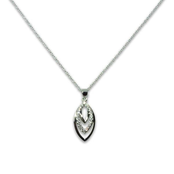 Sterling Silver Tiered Leaf Pendant Necklace