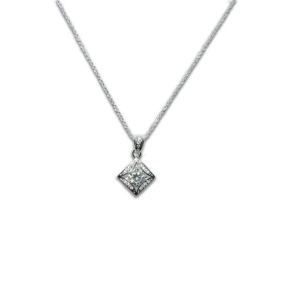 Sterling Silver Square Solitaire Necklace