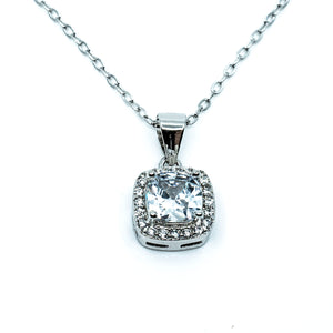 Cushion Cut Pavé Necklace