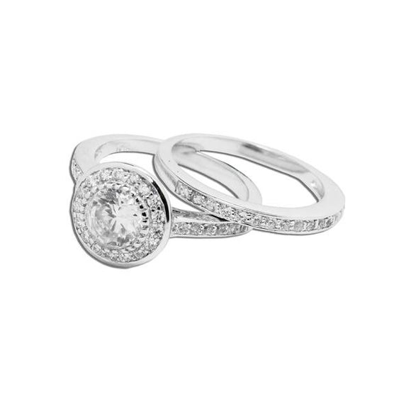 2 Ring Circular Wedding Set
