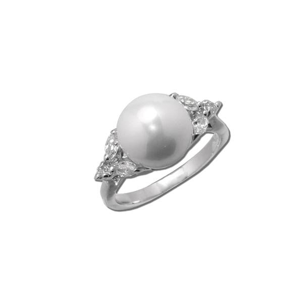 Pearl Ring with CZ Accents