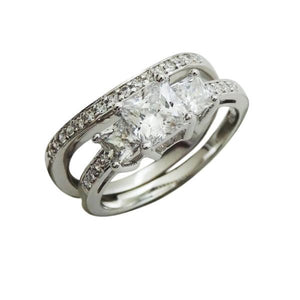 Pavé Princess Cut Engagement Ring Set