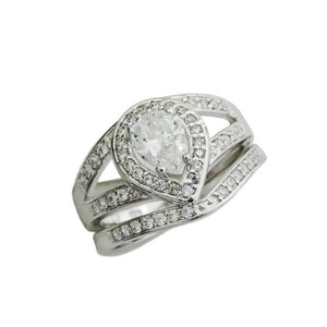 Pear Cut Split Shank Engagement Ring Set