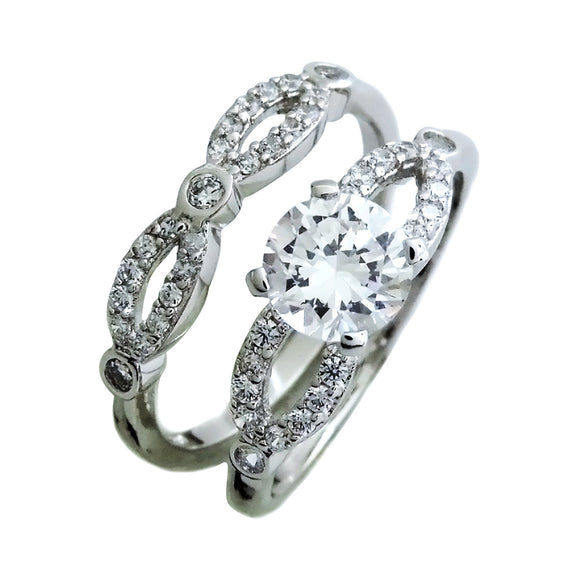Pavé Split Shank Engagement Ring Set