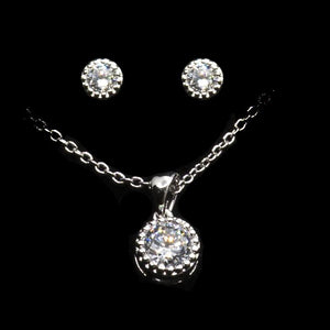Round Cut Solitaire Pendant Necklace & Earrings