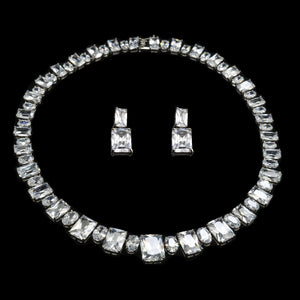 Contemporary Emerald Cut Necklace & Earrings