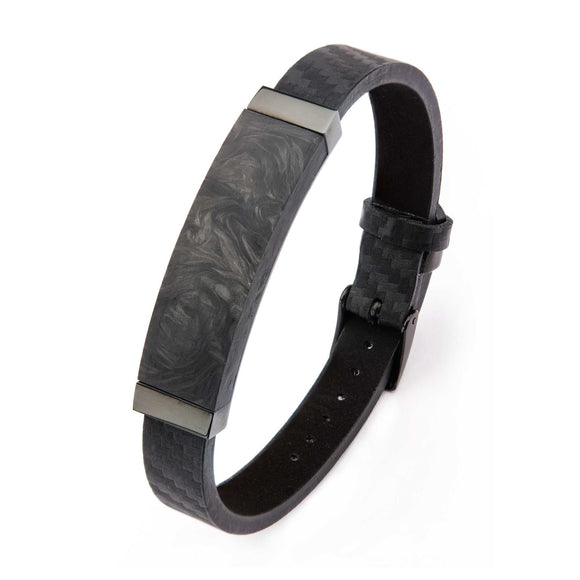 Men's Black Carbon Fiber and Leather Bracelet