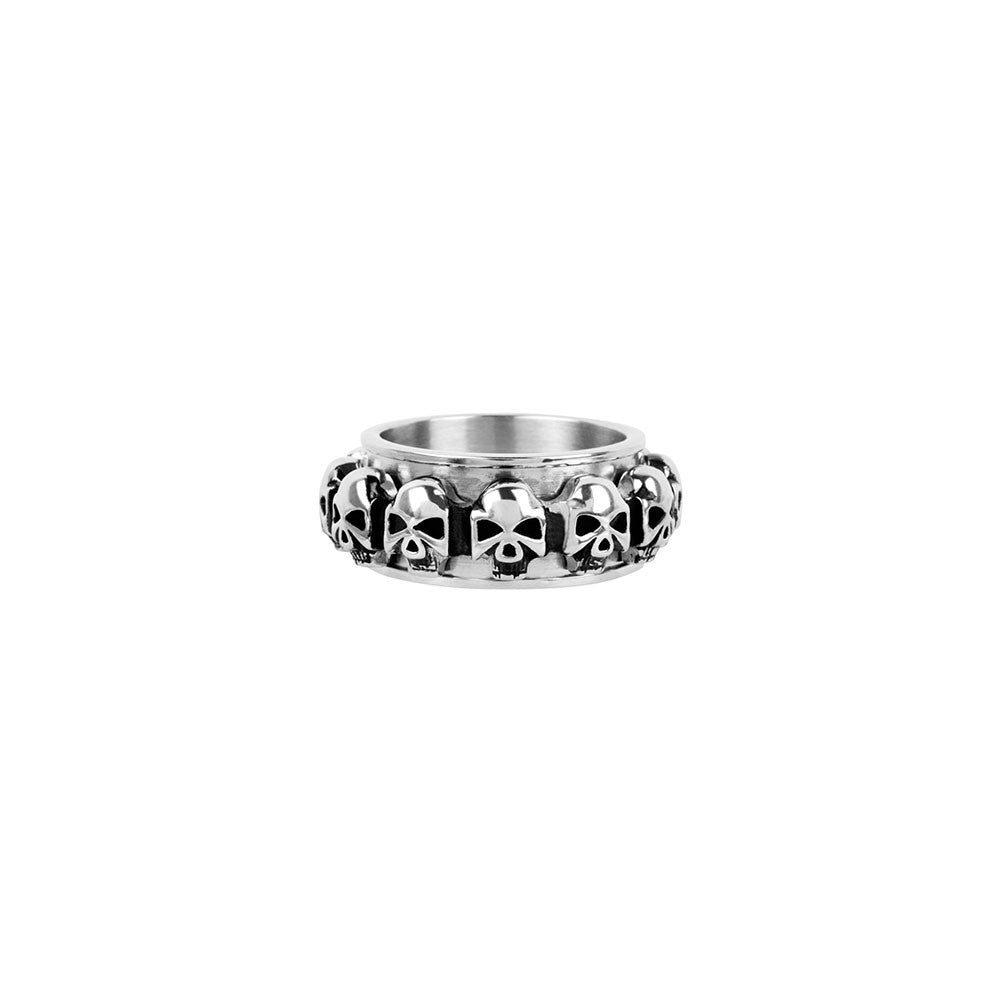 Spinner Ring with Multiple Skull All Around