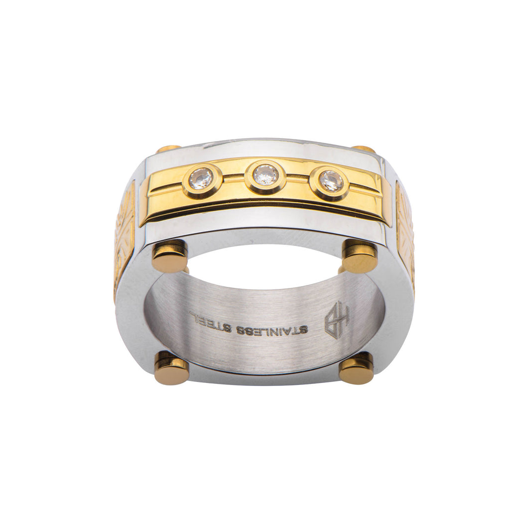 Stl Ip Gold Ring 3pc Diamond