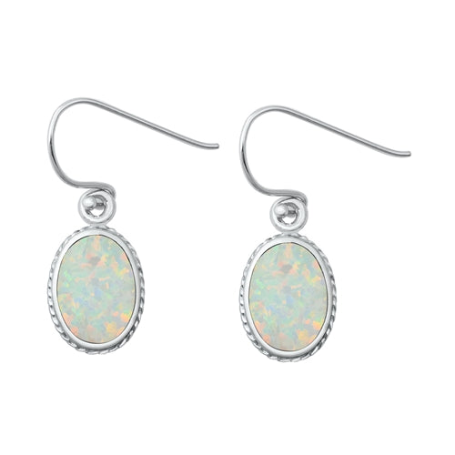 Oval Cut White Opal Drop Earrings