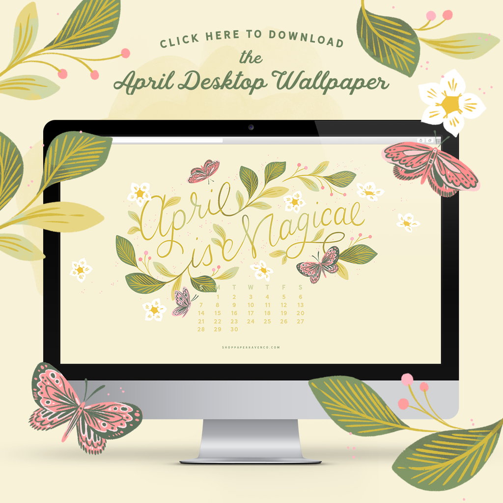 April 2019 Illustrated Desktop Wallpaper