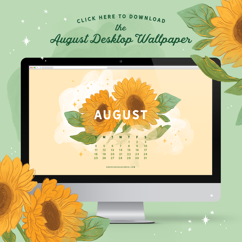 August 2019 Illustrated Desktop Wallpaper