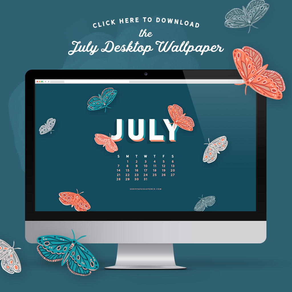 July 2019 Illustrated Desktop Wallpaper