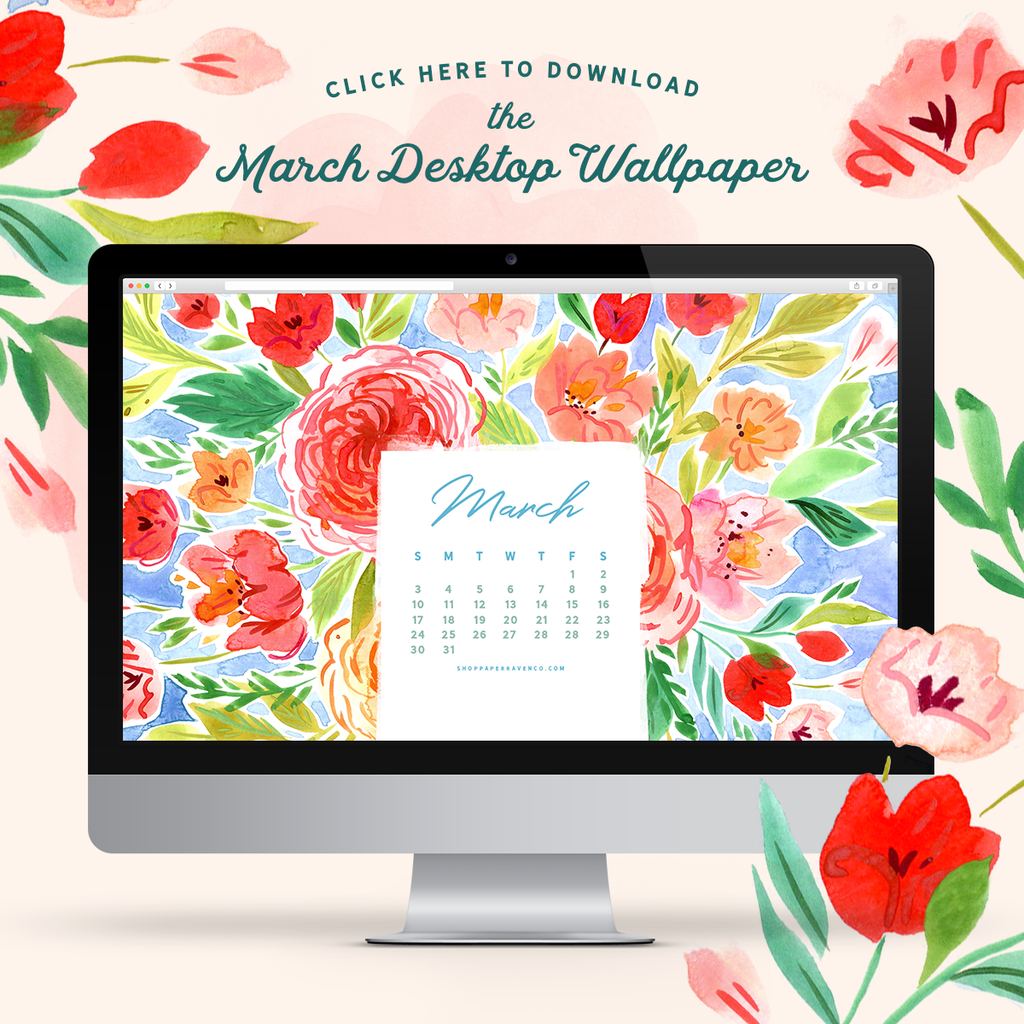 March 2019 Illustrated Desktop Wallpaper