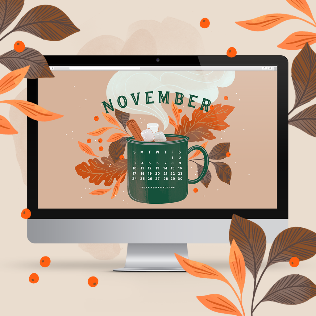 November 2019 Illustrated Desktop Wallpaper