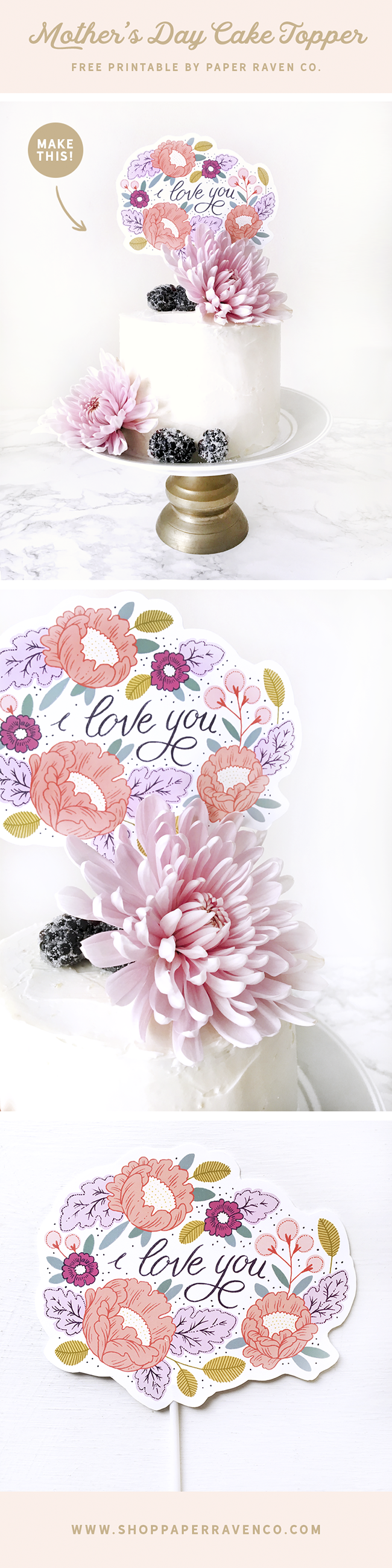 Paper Raven Co. Mother's Day Cake Topper Printable