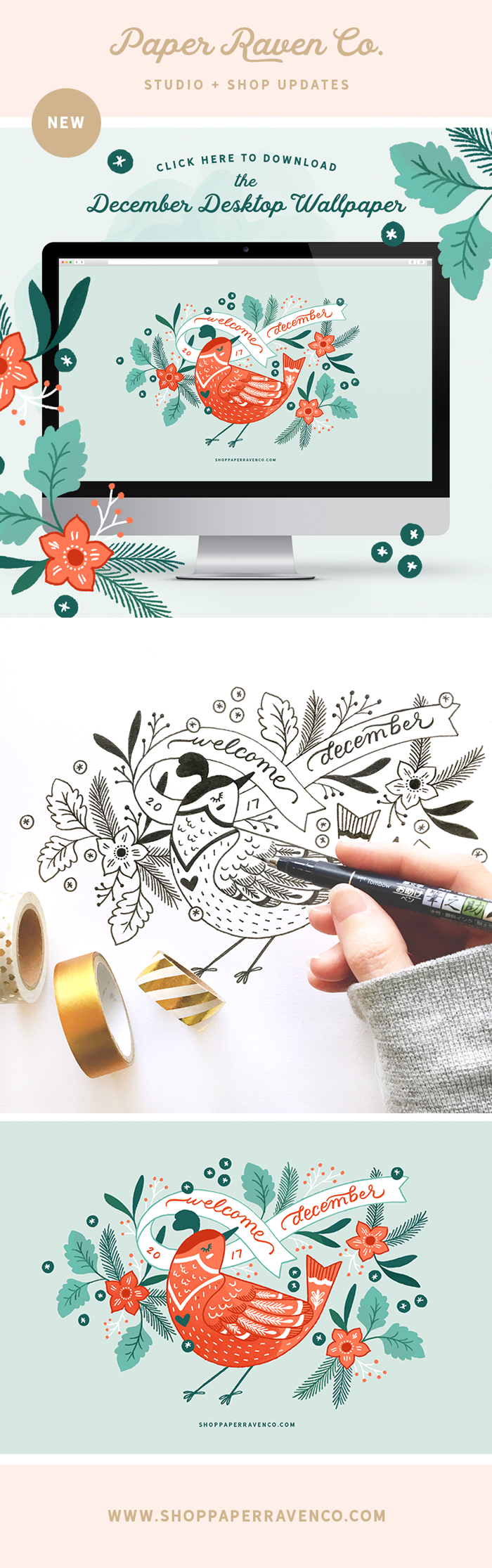 Paper Raven Co. December Illustrated Desktop Download - www.ShopPaperRavenCo.com