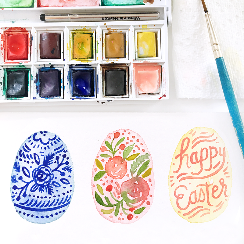 Happy Easter from Paper Raven Co. Painted Watercolor Easter Eggs