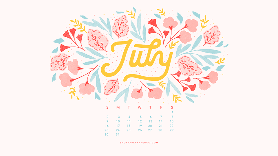 July Illustrated Desktop Wallpaper by Paper Raven Co.