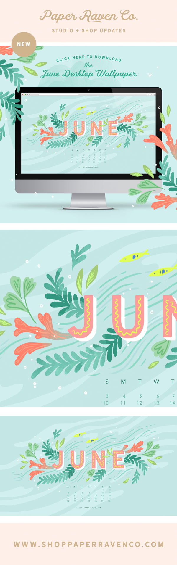 June 2018 Illustrated Desktop Wallpaper - Get it at www.ShopPaperRavenCo.com