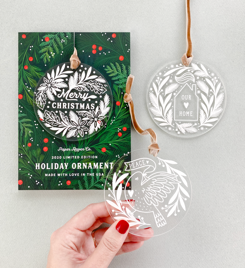 Limited Edition Acrylic Ornament: Happy Holidays