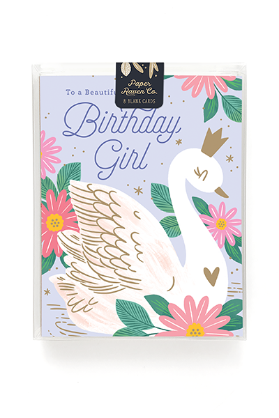 Birthday Swan Card - Box of 8