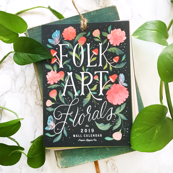 2019 Illustrated Wall Calendar: Folk Art Floral