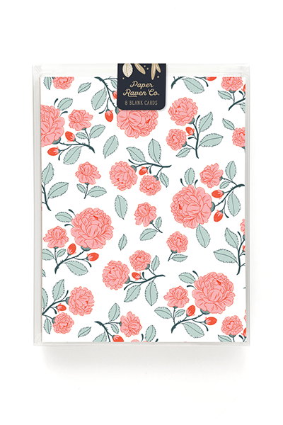 English Rose Garden Patterned Card - Box Set of 8