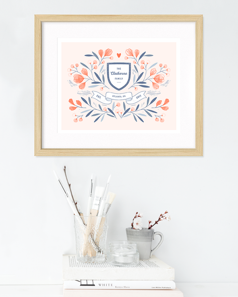 "Custom Family Crest With Watercolor Flowers - 11"" x 14"" - Personalized watercolor illustration art print"