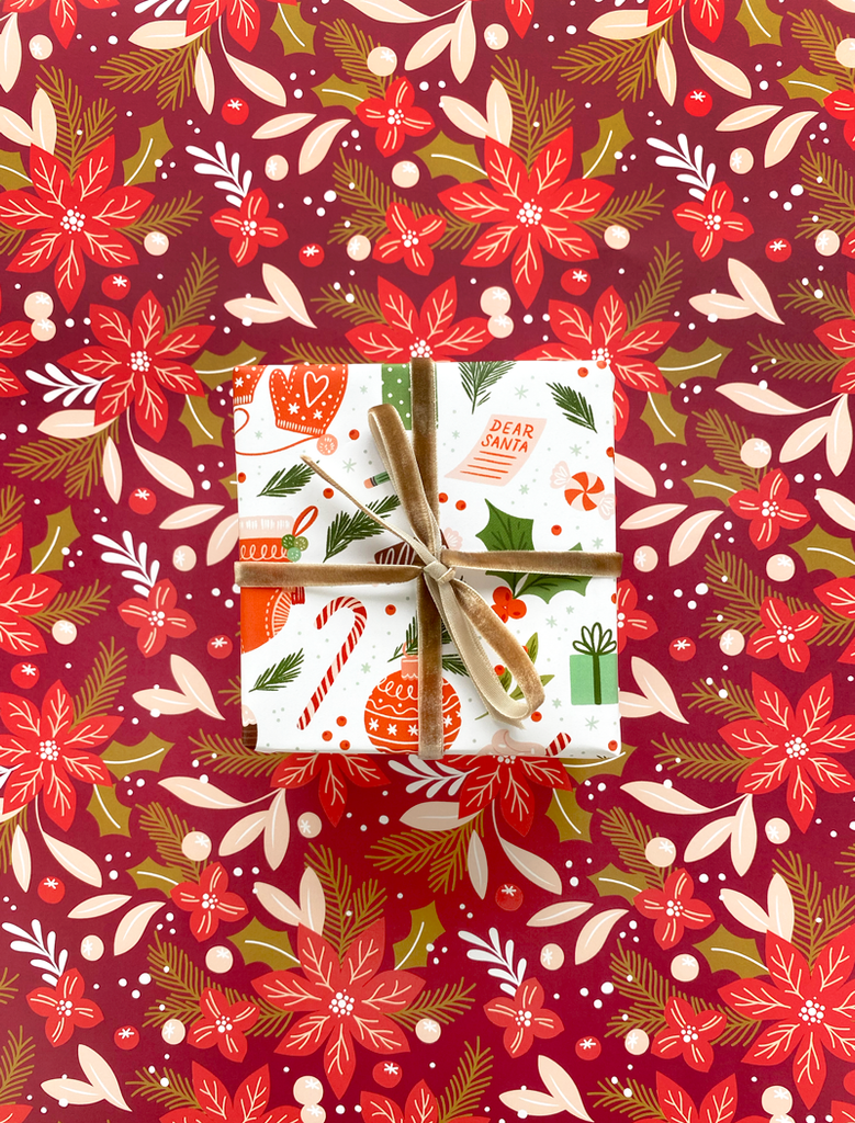 Pretty Poinsettia Wrapping Paper