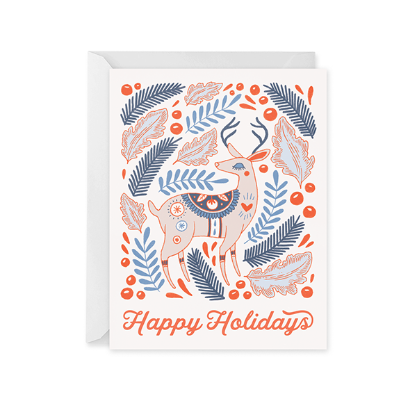 Joyeux Noel Reindeer Holiday Card