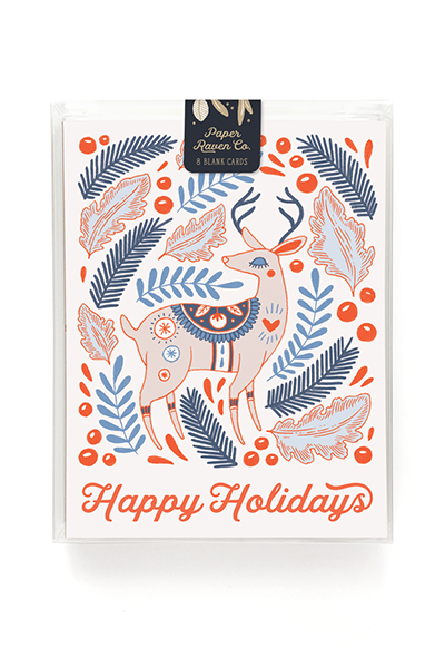 Joyeux Noel Reindeer Holiday Card - Box Set of 8