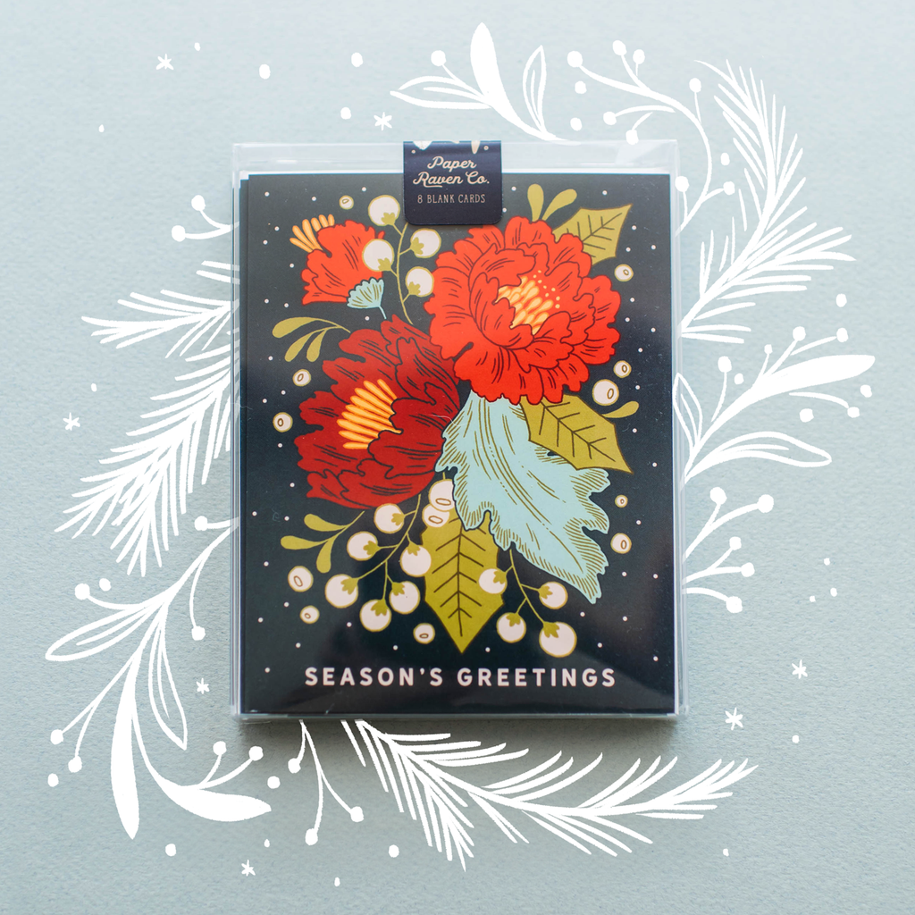 Festive Florals Holiday Card - Box Set of 8