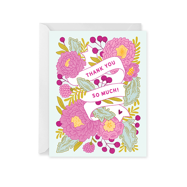 Floral Banner Thank You Card