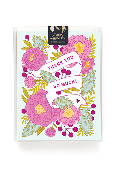 Floral Banner Thank You Card - Box Set of 8