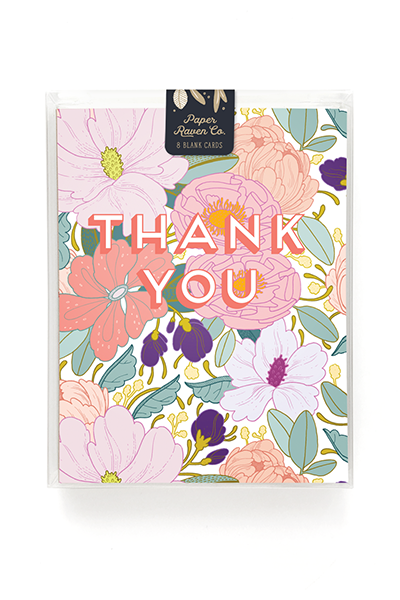 Full Floral Thank You Card - Box Set of 8